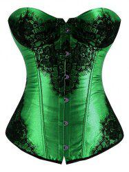 Lace-Up Lace Panel Corset - GREEN