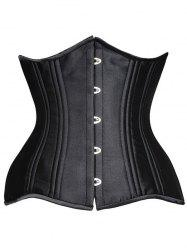 Steel Boned Underbust Lace-Up Corset - BLACK 6XL