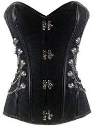 Steel Boned Floral Jacquard Chain Corset - BLACK