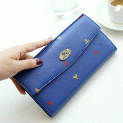 Printed PU Leather Clutch Wallet - SAPPHIRE BLUE