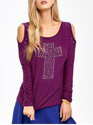 Cold Shoulder Rhinestone T-Shirt -