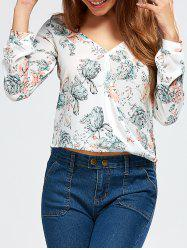 V Neck High Low Floral Surplice Blouse