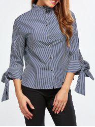 Stand Neck Striped Back Buttons Blouse
