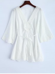 V Neck Hollow Out Self-Tie Embroidered Blouse -