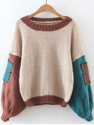 Retro Patched  Lantern Sleeve Sweater - LIGHT KHAKI