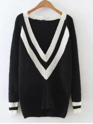 Ribbed  Plunge Neck Cricket Sweater -