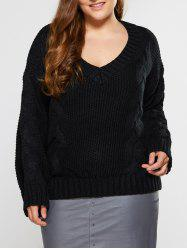 V Neck Cable Knit Sweater - BLACK 5XL