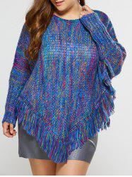 Asymmetric Fringe Poncho Sweater