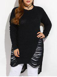 High Low Ripped Plus Size Crew Neck Sweater - BLACK
