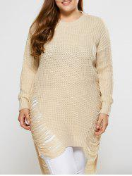 High Low Ripped Plus Size Crew Neck Sweater - PALOMINO