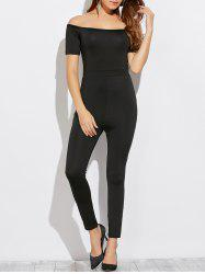 Off The Shoulder Slim Jumpsuit - BLACK