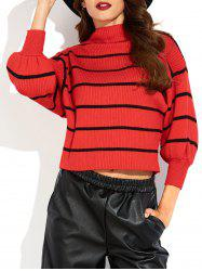 Mock Neck Puff Sleeve Striped Sweater - RED
