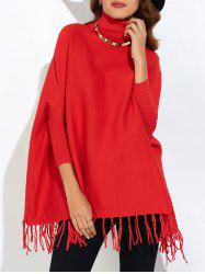 Fringe Oversized Turtleneck Poncho Sweater