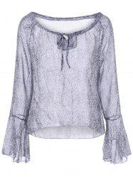 Bell Sleeve Graphic Blouse - GRAY L