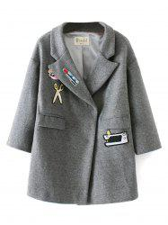 Patched Embroidery Wool Coat -