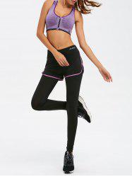 Zipper Bra With Yoga Leggings - PURPLE