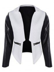 PU Panel Rhombus Open Front Jacket - WHITE AND BLACK