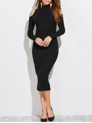 Midi Long Sleeve Turtleneck Cold Shoulder Dress