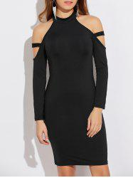 Cold Shoulder Long Sleeve Bodycon Dress -