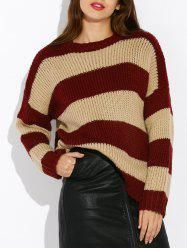 Drop Shoulder Colorful Striped Sweater -