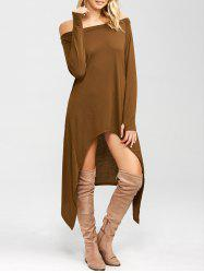 High Low Convertible Off The Shoulder Dress - COFFEE