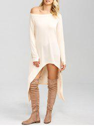 High Low Convertible Off The Shoulder Dress - PINKBEIGE