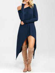 High Low Convertible Off The Shoulder Dress - CERULEAN