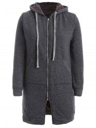 Flocking Zip Up Hooded Coat - DEEP GRAY