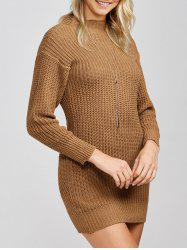 Mock Neck Knit Slimming Sweater Dress -
