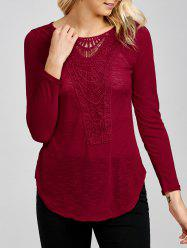 Lace Insert Long Sleeve Tee -