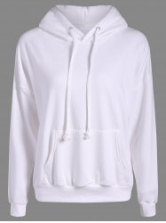 Drop Shoulder Heart Embroidery Pattern Loose Hoodie - OFF-WHITE ONE SIZE