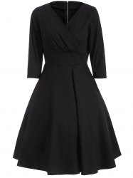 Vintage High Waist Dress - BLACK 2XL