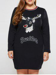 Plus Size Olivet Applique Long Sleeve Christmas Jumper Dress