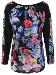Raglan Sleeve Floral Splicing T-Shirt