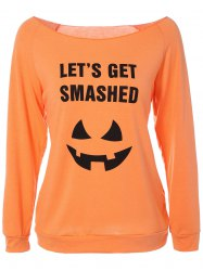 Boat Neck Raglan Sleeve Halloween T-Shirt - ORANGE XL