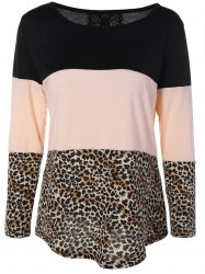 Back Lace Spliced Button Embellished Leopard Print T-Shirt