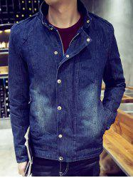 Snap Front Stand Collar Flocking Denim Jacket