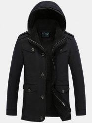 Epaulet Design Pocket Flocking Hooded Jacket - BLACK 5XL