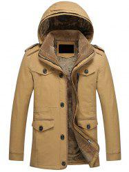 Epaulet Design Pocket Flocking Hooded Jacket