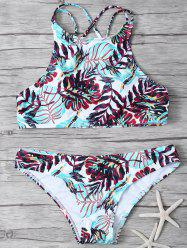 Crisscross Strappy Top High Neck Printed Bikini Swimsuit