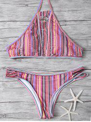 High Neck Striped Split Halter Bikini
