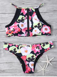 Zip Front Flroal Print High Neck Bikini