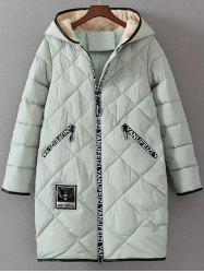 Long Hooded Letter Print Puffer Coat -