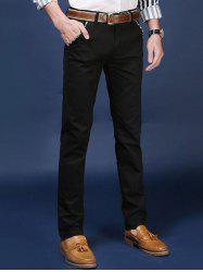 Mid Rise Pocket Zipper Fly Skinny Chino Pants - BLACK 38