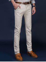 Mid Rise Pocket Zipper Fly Skinny Chino Pants