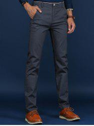 Trimmed Mid Rise Skinny Chino Pants - DEEP GRAY