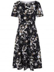 Retro Boat Neck Paisley Print Dress - BLACK 2XL