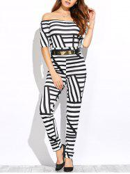 Half Sleeve Off-The-Shoulder Striped Jumpsuit -