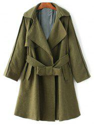 Lapel Collar Wool Blend Belted Wrap Coat