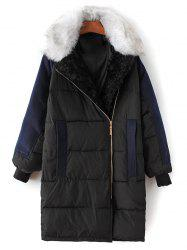 Fur Collar Wool Panel Quilted Coat - BLACK